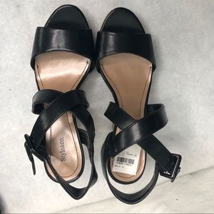 STYLE & CO. BLACK STRAPY CORK WEDGE SANDALS